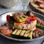 Marinated, grilled vegetable and roasted red pepper hummus sandwiches