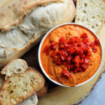 Roasted Red Pepper Hummus and bread