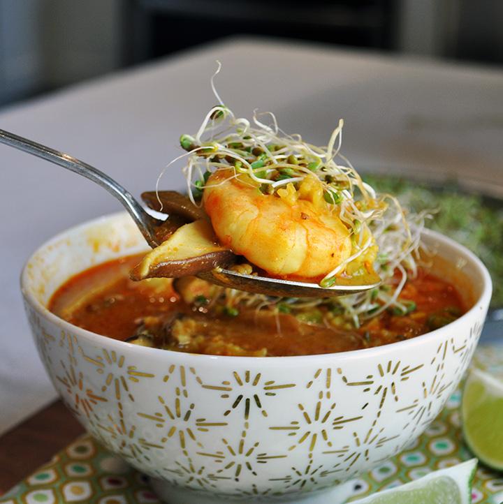 Shrimp, rice, and shiitake mushroom soup