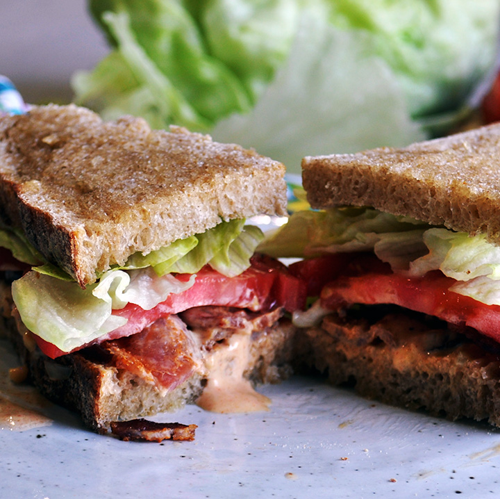 Perfect BLT sandwich with special sauce.