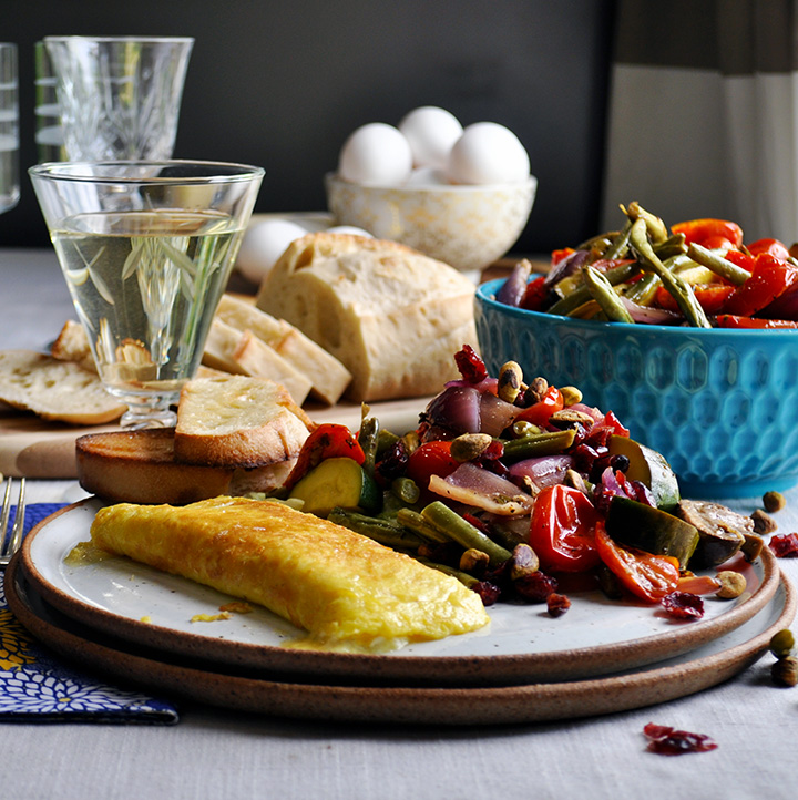 Perfect French Cheese Omelette with Roasted Vegetable Salad.