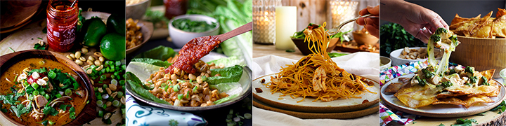 Recipes that use leftover Tahini Chicken: Thai Chicken Noodle Soup, Chicken Lettuce Wraps, 20-Minute Garlic Chipotle Pasta with Chicken, Chicken Nachos with Chimichurri Sauce