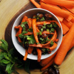 Roasted carrots and dates with mint