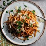 Spaghetti Puttanesca with Roasted Tomato Sauce