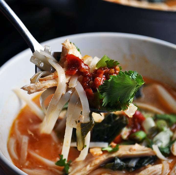 A spoonful of Thai Chicken Noodle Soup.