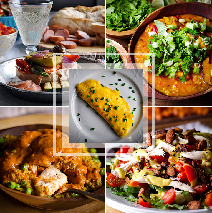 This summer meal plan includes grilled hummus and veggie sandwiches, Shrimp, rice, and shiitake mushroom soup, French omelettes, Indian butter chicken, and Roast chicken salad with mango lime dressing.