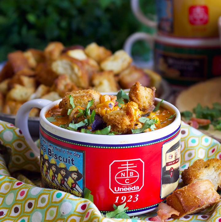A bowl of Southwest Summer Corn Chowder