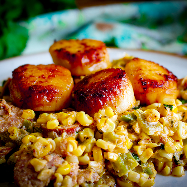 A plate of creamy roasted corn with green chilies, chorizo, and pan seared scallops.