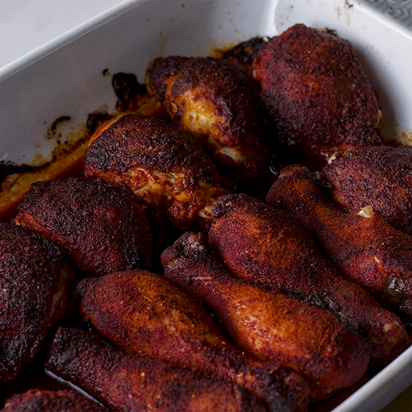 A pan of roasted paprika chicken.