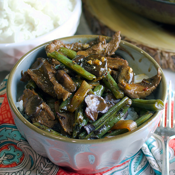 beef stir fry with green beans and mushrooms