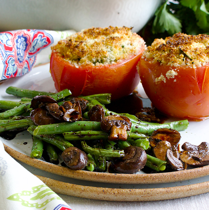 Balsamic Glazed vegetables with cheesy stuffed tomatoes