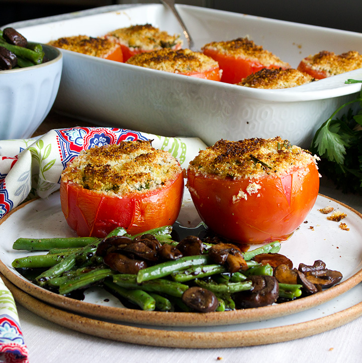 Cheesy stuffed tomatoes with balsamic glazed vegetables