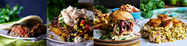 Dishes that go well with Watermelon Salad: Stuffed Poblano Peppers, Black Bean Tostadas with Corn Salsa, Pulled Pork Sandwiches with Pineapple Coleslaw, Scallops with Chorizo and Roasted Corn