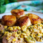 Pan seared scallops with chorizo and roasted corn
