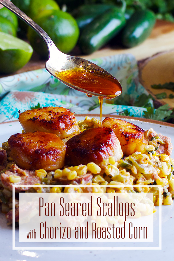 Drizzling chorizo oil over pan seared scallops with roasted corn and chorizo sausage.