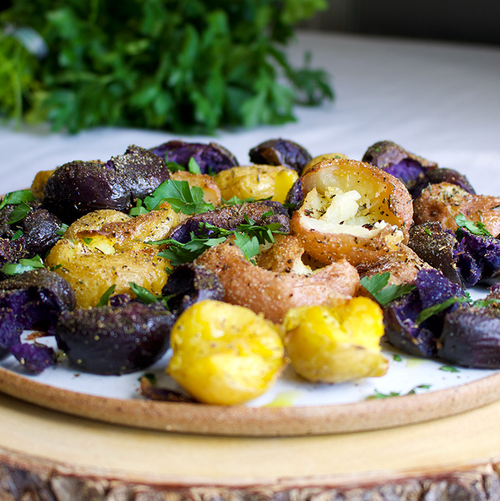 Smashed Potatoes with Olive Oil and Herbs