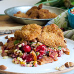Wild rice, cranberry and corn salad with fried chicken.