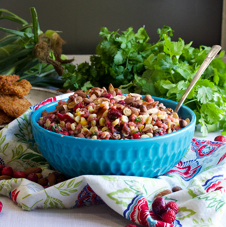 Wild rice, cranberry and corn salad.