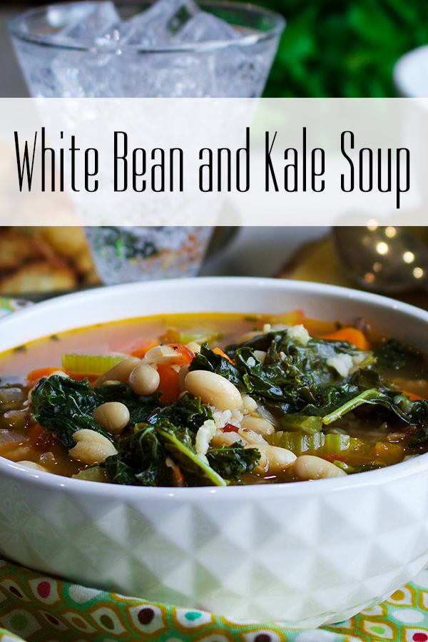 A bowl of vegetarian white bean and kale soup.