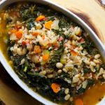White bean and kale soup with wild rice and tomatoes.