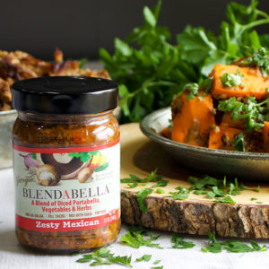 Chili Roasted Sweet Potatoes made with BLENDABELLA Zesty Mexican.