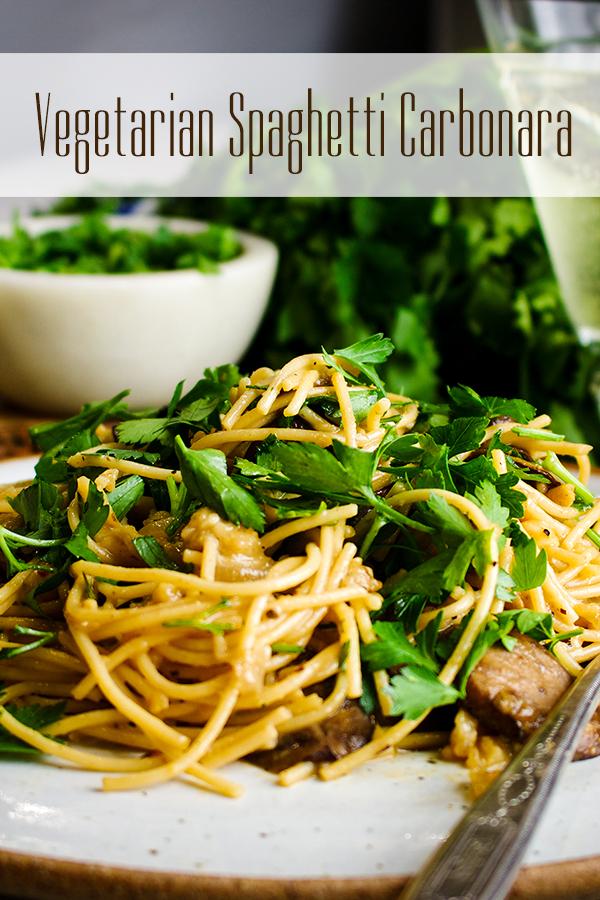 A plate of Vegetarian Spaghetti Carbonara.