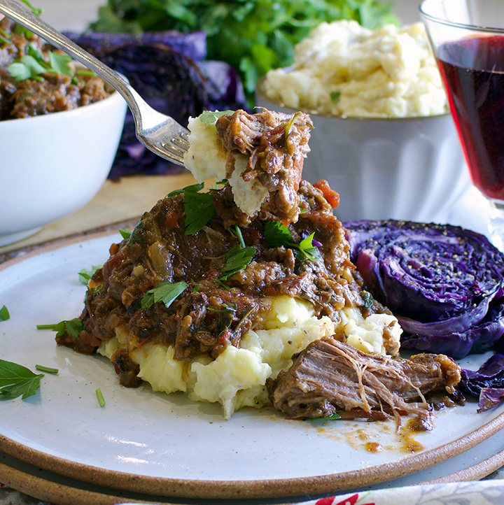 Tuscan Braised Beef with Garlic Mascarpone Mashed Potatoes