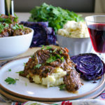 Tuscan Braised Beef with Garlic Mascarpone Mashed Potatoes and Roasted Cabbage