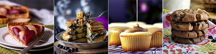 Four delicious baking recipes: Pear Tart with Frangipane {Almond Cream}, Fluffy Buttermilk Blueberry Pancakes, 1-Hour Buttermilk Caramel Cupcakes, Chocolate Peanut Butter Cookies