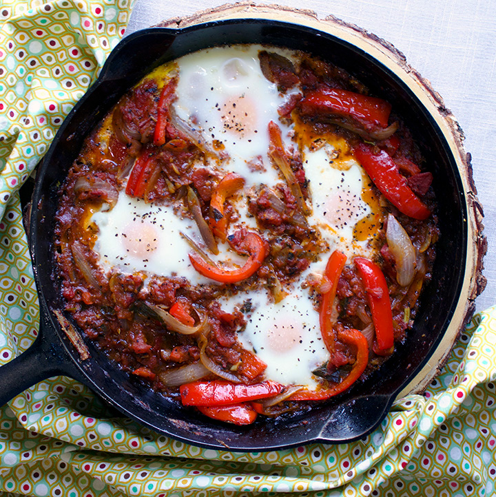 Chachouka - North African Pepper and Tomato Stew with Eggs