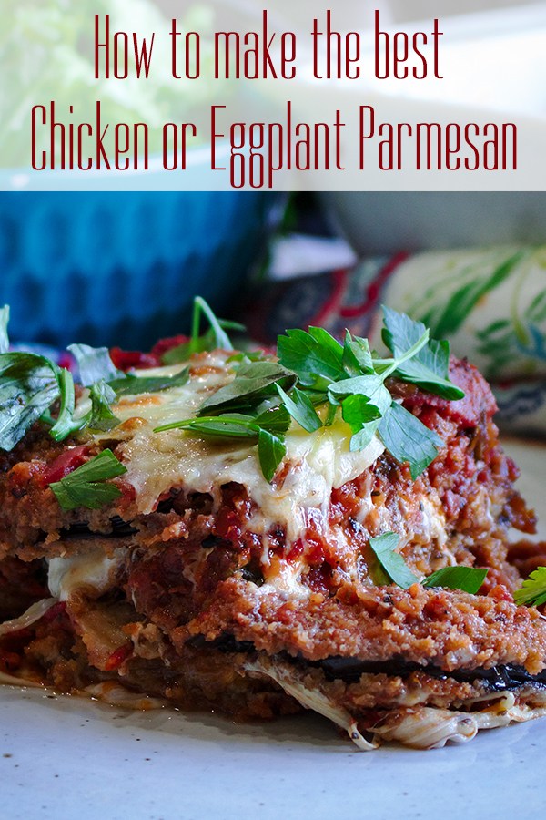 A plate of eggplant parmesan.