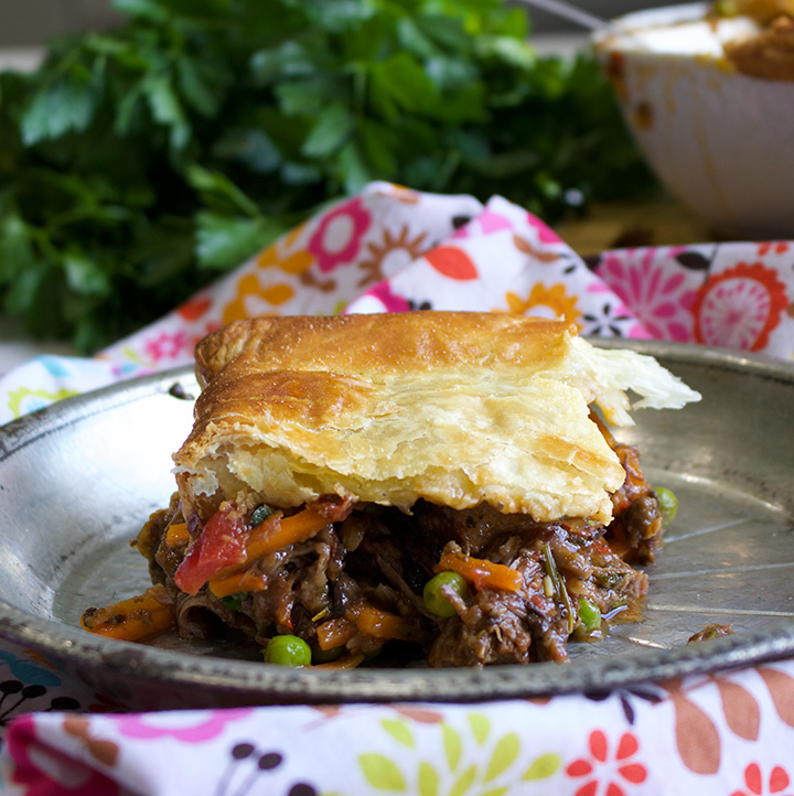 Braised Beef Pot Pie with a Puff Pastry Crust