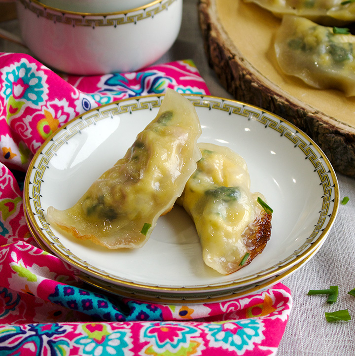 Breakfast potstickers with hollandaise sauce