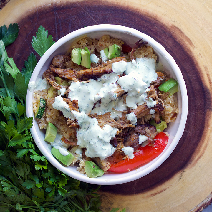 Quinoa Veggie Carnitas Bowls with Jalapeño Cream