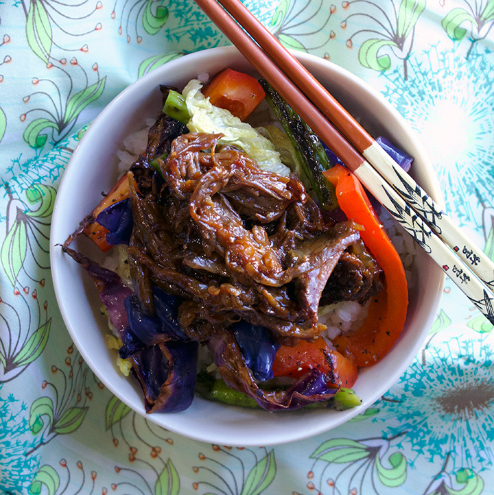 Asian Slow Cooker Short Ribs, Vegetables, and Rice