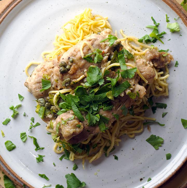 Chicken Piccata and pasta