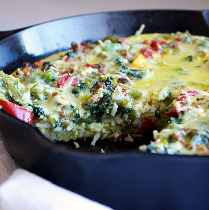 Pasta Frittata with Sausage and Broccoli Rabe
