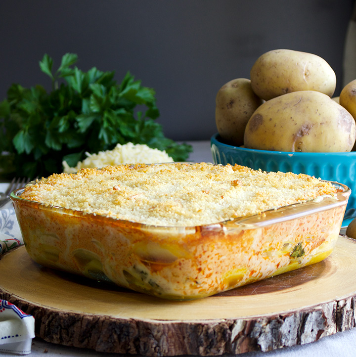 Cheese Potato Gratin with Smoked Salmon and Paprika Cream
