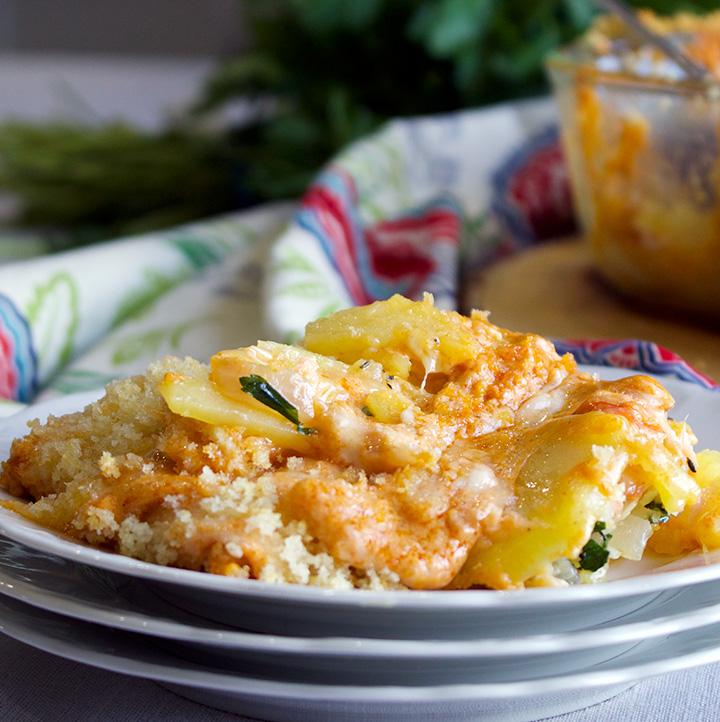 Cheese Potato Gratin with Smoked Salmon and Paprika Cream