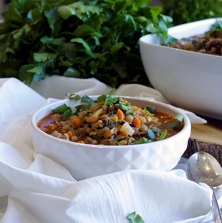 Spanish Style Sausage and Lentil Soup with Kale