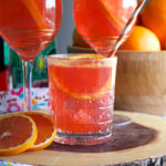 A glass of Aperol Spritz cocktail.