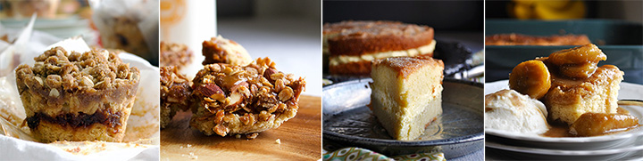 Apple Cinnamon Muffins, Dulce de Leche Granola Cookie Bars, Olive Oil Cake, and Bananas Foster Butter Cake