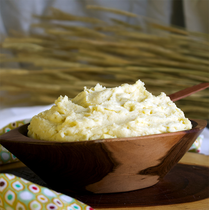 A bowl of cream cheese mashed potatoes made with Yukon Gold potatoes