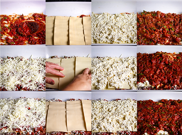 Step-by-step photos showing how to make classic lasagna with sausage, cheese, pasta, and marinara sauce.