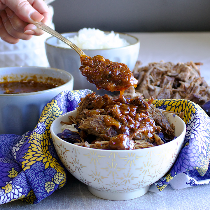 Slow Cooker BBQ Beef, Rice and Vegetable Bowls