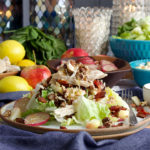 Roast Chicken Salad with Lemon Vinaigrette, Sesame Crunch, Bacon, Radishes, and Apples