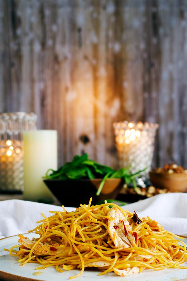 Garlic chipotle pasta with chicken.