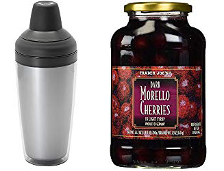 Cocktail shaker and morello cherries are used to make Cherry Prosecco Spritzers