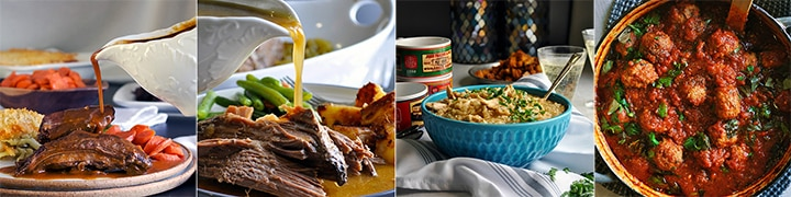 More comfort food recipes: Slow Cooker Tri-Tip Steak with Fennel and Coriander Gravy, 5-minute Prep Slow Cooker Pot Roast, Creamy Chicken and Rice, Homemade Meatballs in Marinara Sauce