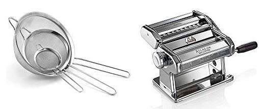 Useful equipment to make Garlic Chipotle Pasta: Stainless Steel Mesh Strainers and Marcato Pasta Machine